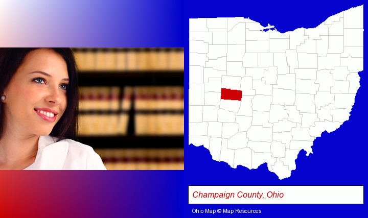 a young, female attorney in a law library; Champaign County, Ohio highlighted in red on a map