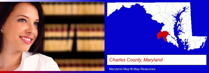 a young, female attorney in a law library; Charles County, Maryland highlighted in red on a map