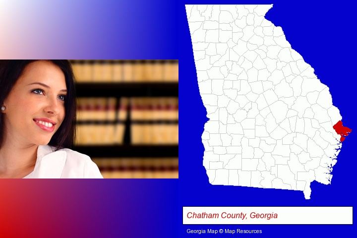 a young, female attorney in a law library; Chatham County, Georgia highlighted in red on a map