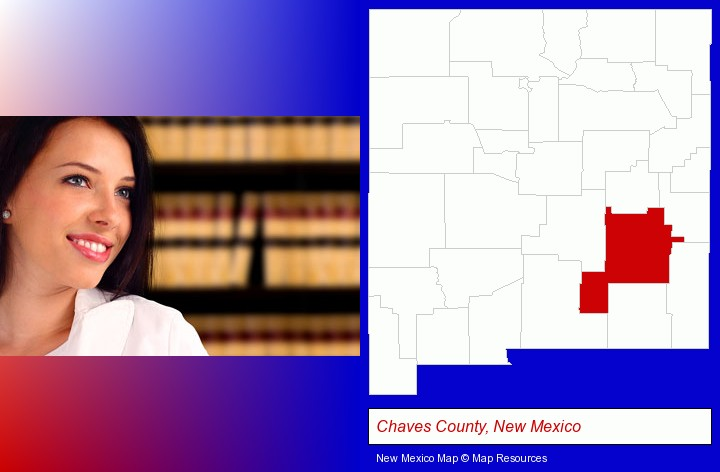 a young, female attorney in a law library; Chaves County, New Mexico highlighted in red on a map