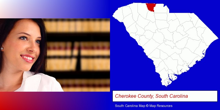 a young, female attorney in a law library; Cherokee County, South Carolina highlighted in red on a map