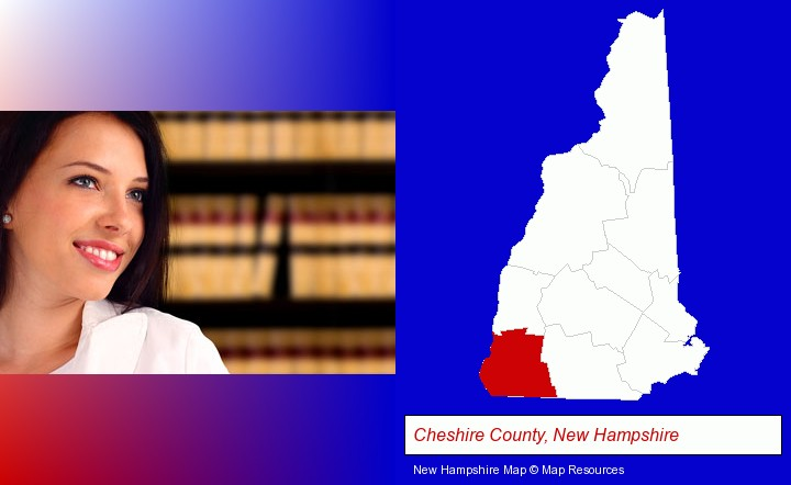 a young, female attorney in a law library; Cheshire County, New Hampshire highlighted in red on a map
