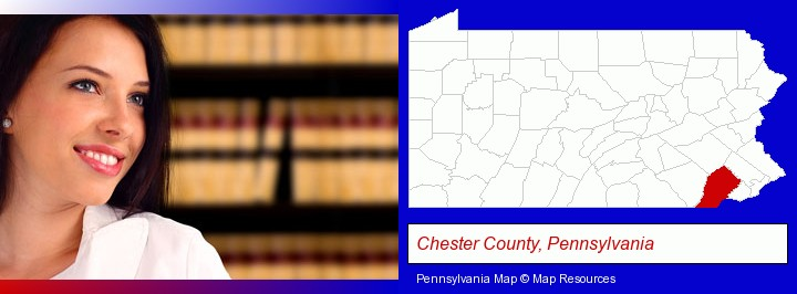 a young, female attorney in a law library; Chester County, Pennsylvania highlighted in red on a map