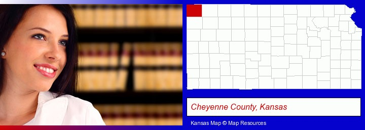 a young, female attorney in a law library; Cheyenne County, Kansas highlighted in red on a map