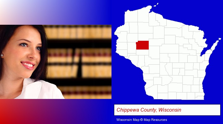 a young, female attorney in a law library; Chippewa County, Wisconsin highlighted in red on a map