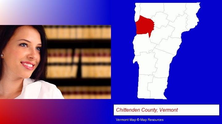 a young, female attorney in a law library; Chittenden County, Vermont highlighted in red on a map
