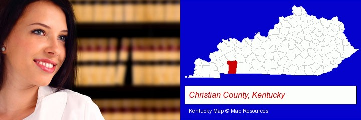 a young, female attorney in a law library; Christian County, Kentucky highlighted in red on a map