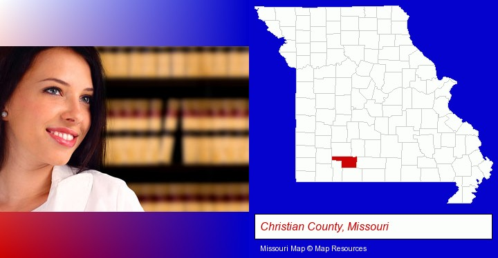 a young, female attorney in a law library; Christian County, Missouri highlighted in red on a map
