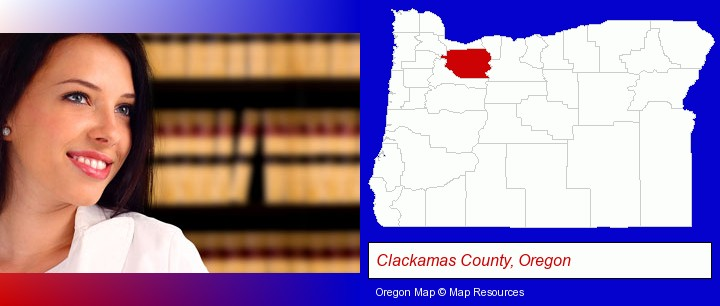 a young, female attorney in a law library; Clackamas County, Oregon highlighted in red on a map