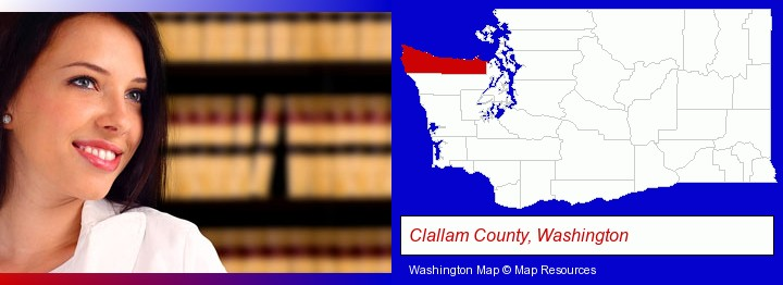 a young, female attorney in a law library; Clallam County, Washington highlighted in red on a map