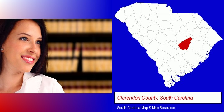 a young, female attorney in a law library; Clarendon County, South Carolina highlighted in red on a map