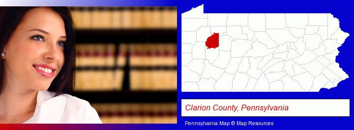 a young, female attorney in a law library; Clarion County, Pennsylvania highlighted in red on a map