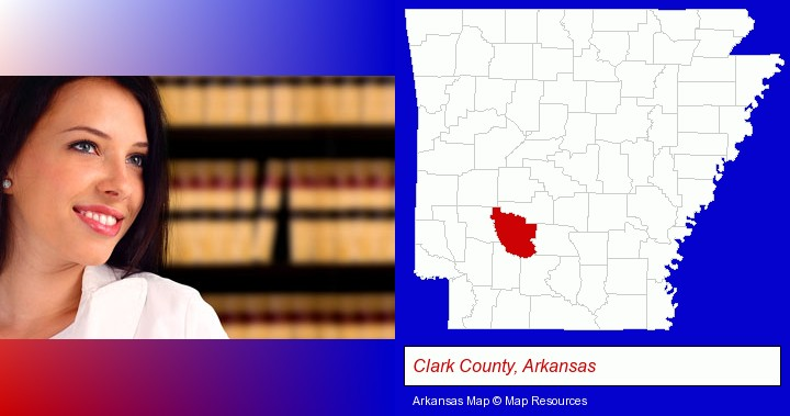 a young, female attorney in a law library; Clark County, Arkansas highlighted in red on a map