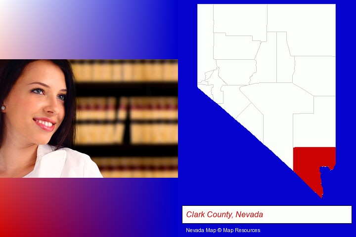 a young, female attorney in a law library; Clark County, Nevada highlighted in red on a map