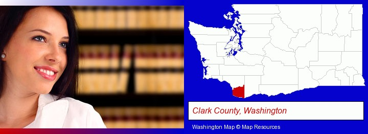 a young, female attorney in a law library; Clark County, Washington highlighted in red on a map