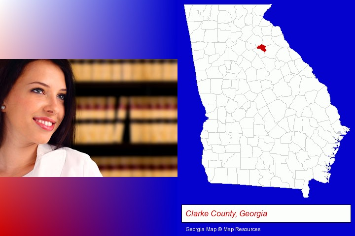 a young, female attorney in a law library; Clarke County, Georgia highlighted in red on a map