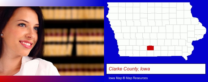 a young, female attorney in a law library; Clarke County, Iowa highlighted in red on a map