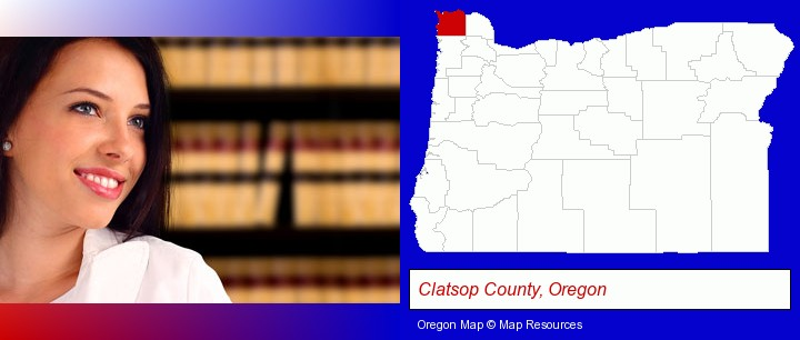 a young, female attorney in a law library; Clatsop County, Oregon highlighted in red on a map