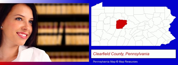 a young, female attorney in a law library; Clearfield County, Pennsylvania highlighted in red on a map