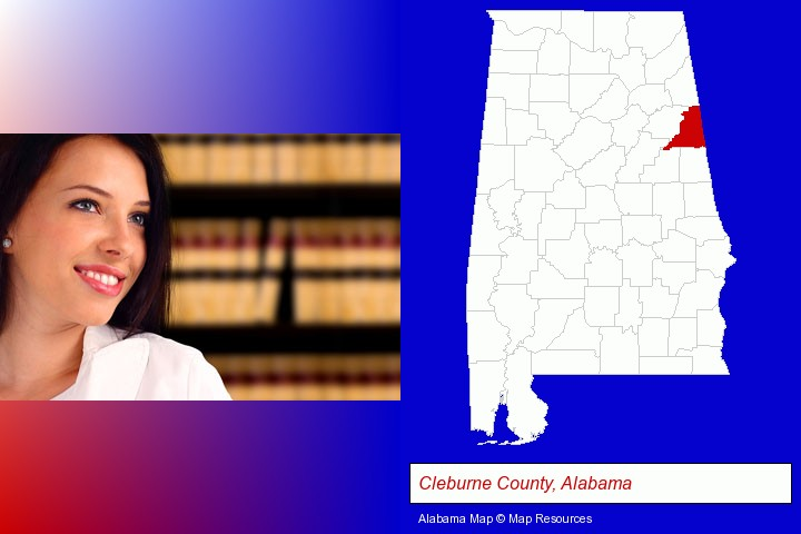 a young, female attorney in a law library; Cleburne County, Alabama highlighted in red on a map