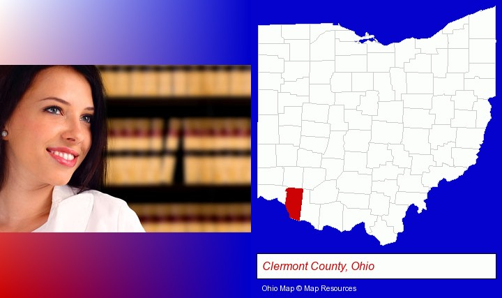 a young, female attorney in a law library; Clermont County, Ohio highlighted in red on a map