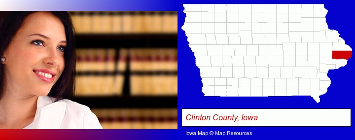 a young, female attorney in a law library; Clinton County, Iowa highlighted in red on a map