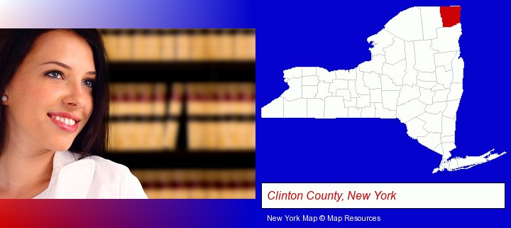 a young, female attorney in a law library; Clinton County, New York highlighted in red on a map