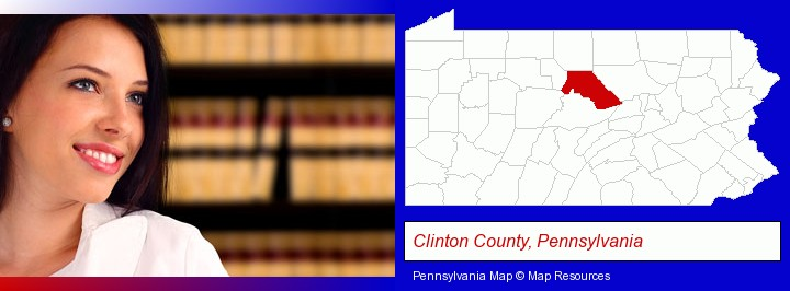 a young, female attorney in a law library; Clinton County, Pennsylvania highlighted in red on a map
