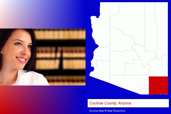 a young, female attorney in a law library; Cochise County, Arizona highlighted in red on a map