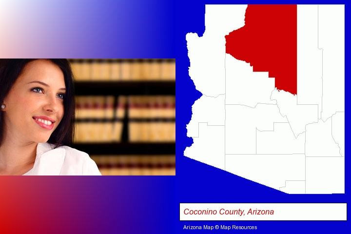 a young, female attorney in a law library; Coconino County, Arizona highlighted in red on a map