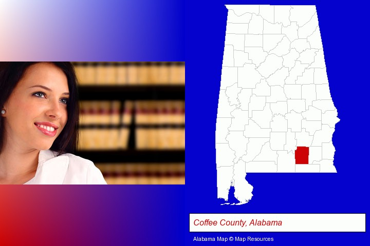 a young, female attorney in a law library; Coffee County, Alabama highlighted in red on a map