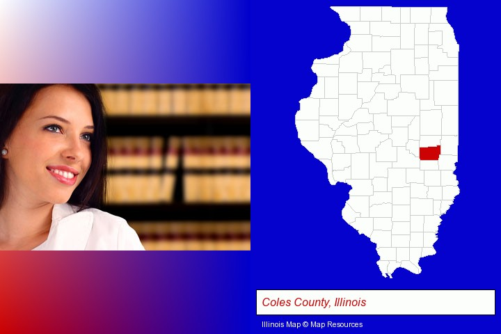 a young, female attorney in a law library; Coles County, Illinois highlighted in red on a map