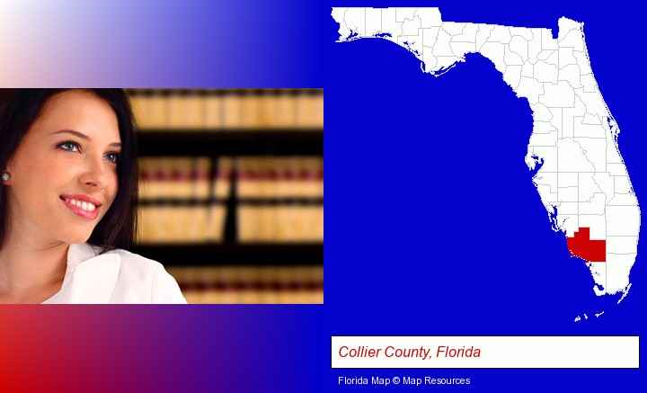 a young, female attorney in a law library; Collier County, Florida highlighted in red on a map