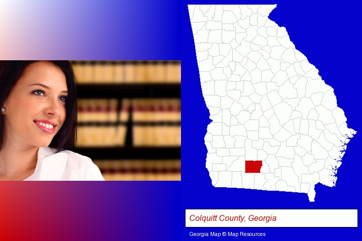 a young, female attorney in a law library; Colquitt County, Georgia highlighted in red on a map