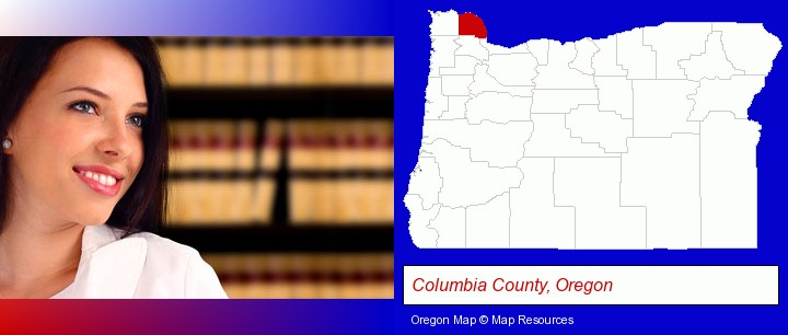 a young, female attorney in a law library; Columbia County, Oregon highlighted in red on a map