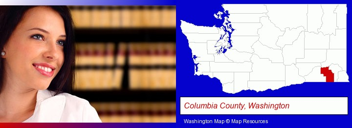 a young, female attorney in a law library; Columbia County, Washington highlighted in red on a map