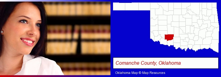 a young, female attorney in a law library; Comanche County, Oklahoma highlighted in red on a map