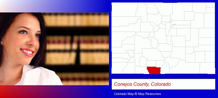 a young, female attorney in a law library; Conejos County, Colorado highlighted in red on a map