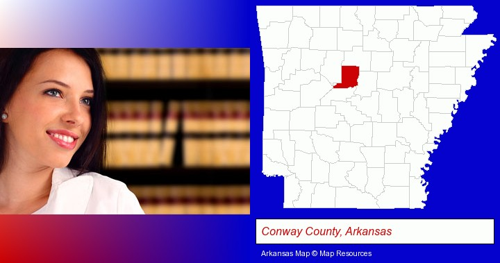 a young, female attorney in a law library; Conway County, Arkansas highlighted in red on a map