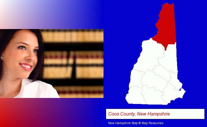 a young, female attorney in a law library; Coos County, New Hampshire highlighted in red on a map