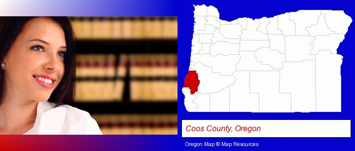 a young, female attorney in a law library; Coos County, Oregon highlighted in red on a map
