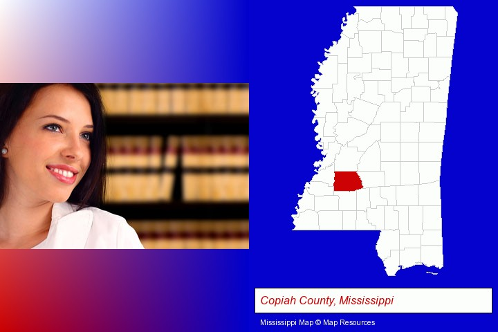 a young, female attorney in a law library; Copiah County, Mississippi highlighted in red on a map