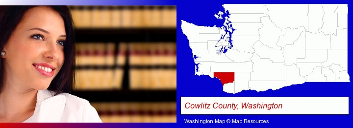 a young, female attorney in a law library; Cowlitz County, Washington highlighted in red on a map