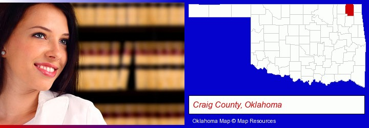 a young, female attorney in a law library; Craig County, Oklahoma highlighted in red on a map