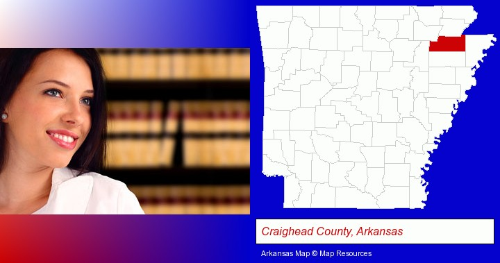 a young, female attorney in a law library; Craighead County, Arkansas highlighted in red on a map