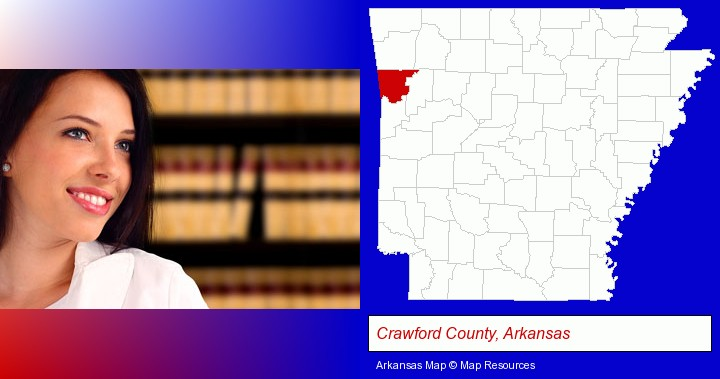 a young, female attorney in a law library; Crawford County, Arkansas highlighted in red on a map