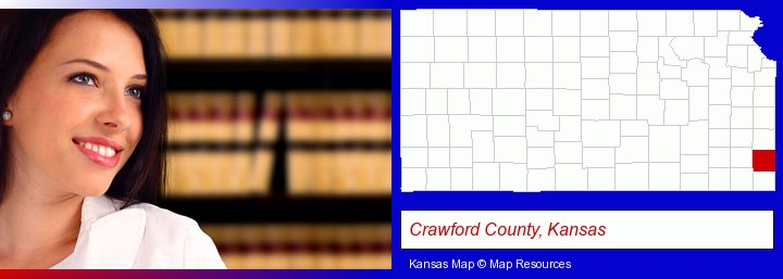 a young, female attorney in a law library; Crawford County, Kansas highlighted in red on a map