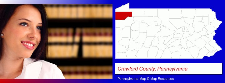 a young, female attorney in a law library; Crawford County, Pennsylvania highlighted in red on a map