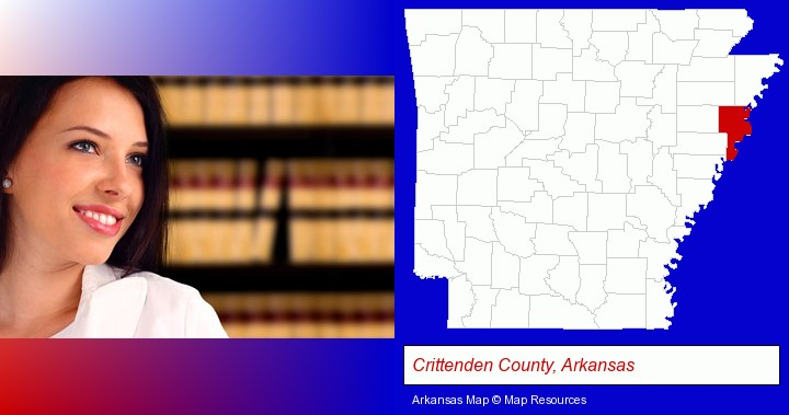 a young, female attorney in a law library; Crittenden County, Arkansas highlighted in red on a map