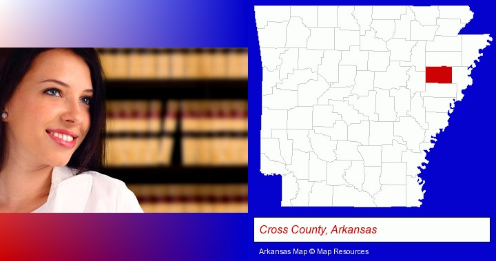 a young, female attorney in a law library; Cross County, Arkansas highlighted in red on a map